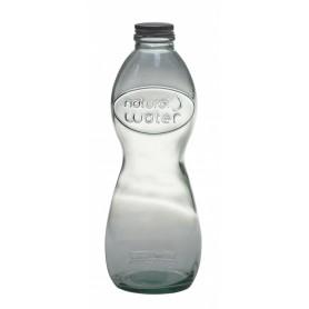 Botella con tapon de rosca de cristal reciclado 1l.